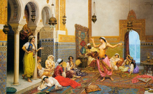 The harem dance, oil on canvas, 65 x 115 cm